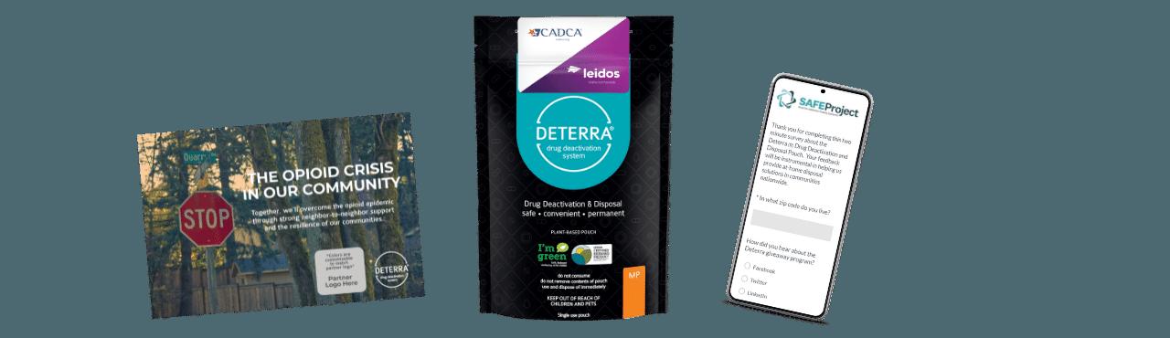 Deterra Postcard, Pouch and Survey